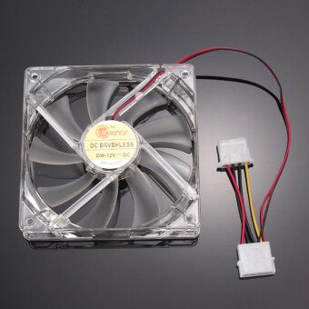 Harga OH Quad 4 LED Light 120mm PC Computer Case Cooling Fan Mod Easy Installed Fan 12V