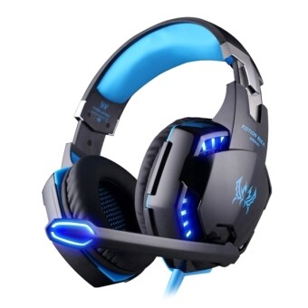 Harga KOTION EACH G2200 USB 7.1 Surround Sound Vibration Game Gaming Headphone Computer Headset Earphone Headband With Microphone LED Light,Cable Length: About 2.2m(Blue + Black) - Intl