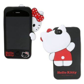 Harga Leegoal Black 3D Cute Hello Kitty Hide & Seek Soft Rubber Silicone Case Cover for Apple IPhone4/4S - intl