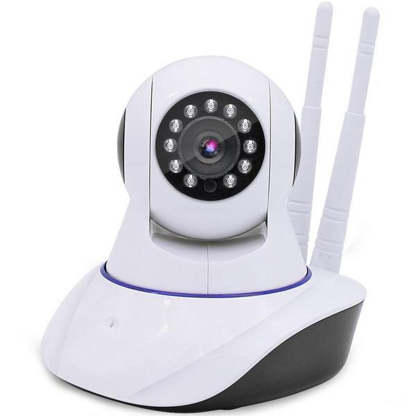 IP Camera p2p Cam IP Camera Full HD กล้องวงจรปิดไร้สาย version 2 สองเสาอากาศ(white)