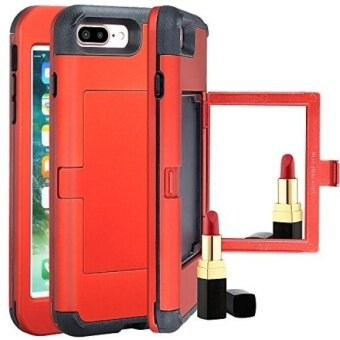 iPhone 7 Plus Wallet CaseiPhone 7 Plus Case with Card HolderKudex Makeup Mirror Stylish Slim Shockproof Hybrid Protective Bumper Purse Dual Layer Shell Cover with ID SlotsHidden Pocket (Red) - intl