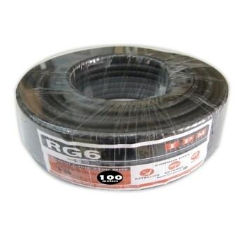 IPM สายนำสัญญาณRG6 ชิลด์ 64% ยาว100เมตร - สีดำ