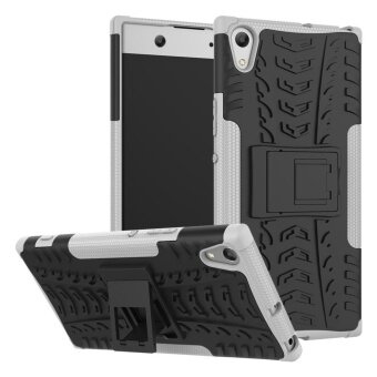 Kickstand Cool Tyre Pattern PC + TPU Casing for Sony Xperia XA1Ultra - Grey - intl