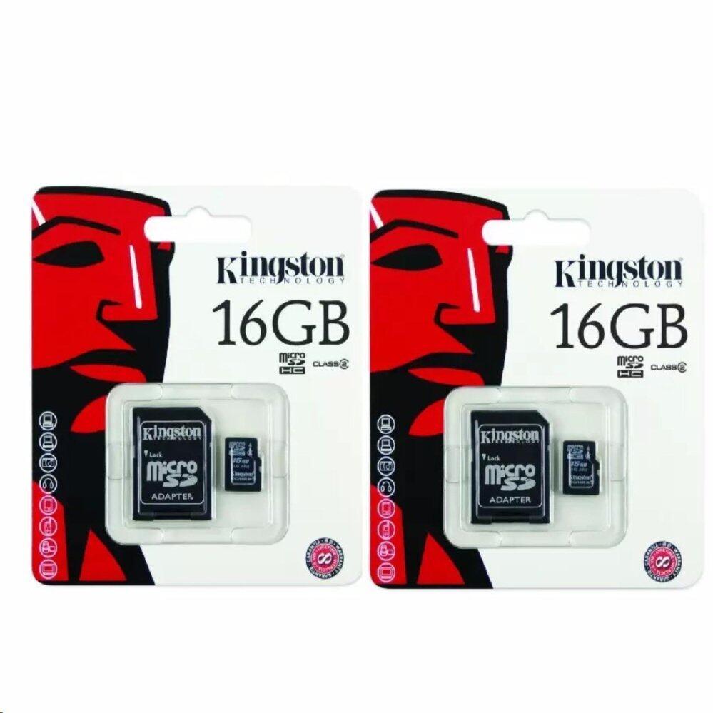 Kingston Memory Card เมมโมรี่การ์ด Micro SD 16GB 2ชิ้น (Class10)