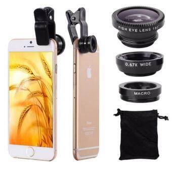 La Perla ชุดเลนส์เสริมกล้องมือถือ ซัมซุง ไอโฟน HTC รุ่น BE PRO -เลนส์ฟิชอายส์ เลนส์ไวลด์ เลนส์มาโคร พร้อมฝาปิดเลนส์ และถุงผ้ากำมะหยี่สีดำ (สีดำ)