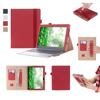 Lenovo Miix 320 Case – Premium Flip Stand PU Leather Smart CoverCase Shell with Hand Strap, Pocket, Elastic Band and Card Slots forLenovo Miix 320 10.1 Tablet (Red) - intl