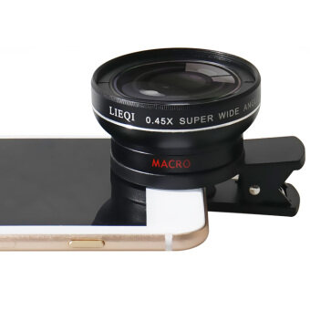 LIEQI LQ-027 2 in 1 เลนส์ครอบกล้องมือถือ super Wide Angle Lens 10XMacro Lens Camera Lens for iPhone iPad Samsung S6 S7 S7 edgeSmartphone ดำ