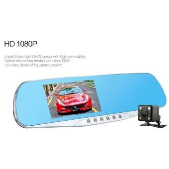 Lotus Store กล้องติดรถยนต์แบบกระจกมองหลังพร้อมกล้องติดท้ายรถ บอดี้เป็น โลหะ DVR F5