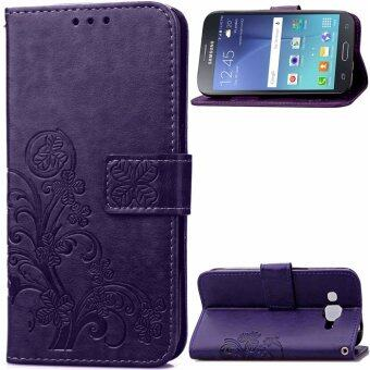 Harga Lucky Clover PU Leather Flip Magnet Wallet Stand Card Slots CaseCover for Samsung Galaxy J2 SM-J200F Purple - intl