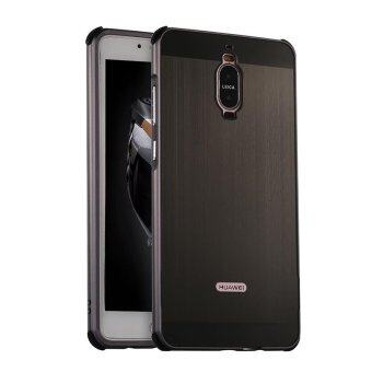 Luxury Brushed Plating Case Hard Aluminum Metal Frame ProtectiveCover Acrylic Panel for Huawei Mate 9 Pro Shockproof - intl