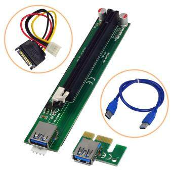 เสนอราคา MENGS® PCI-E 1x Express To 16x Adapter Riser Card Extension Powered USB 3.0 Cable For Bitcoin Mining
