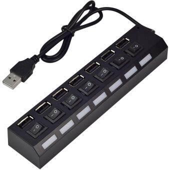 โปรโมชั่นพิเศษ MENGS® USB 2.0 Hub 7 Ports USB 3.0 Splitter With On/Off Power Switch For For Laptop / Notebook / PC / Computer / Tablets - Black