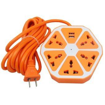 ซื้อ/ขาย Morning CKML ปลั๊กไฟ USB รุ่น Colorful Series 5 เมตร LH-600 สีส้ม