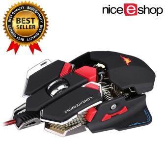 niceEshop เมาส์สำหรับเล่นเกมส์แบบสามารถโปรแกรมได้ 10 ปุ่มCombaterwing 4800 dpi ของเมาส์ไร้สายสำหรับเล่นเกมมืออาชีพ สีดำ