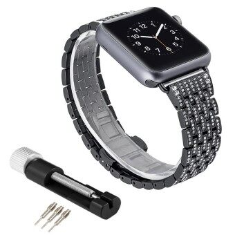 niceEshop For Apple Watch Band 38mm Alloy Crystal Rhinestone Diamond Watch Band Luxury Stainless Steel Replacement Band Strap For Apple Watch All Models - intl