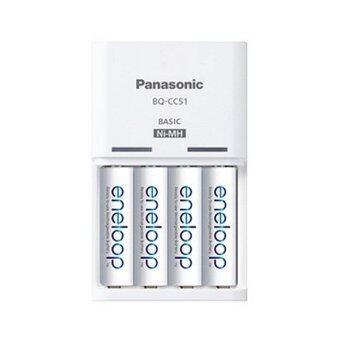 Panasonic ชุดชาร์จ Eneloop + ถ่านชาร์จ AA 4 ก้อน (สีขาว)
