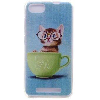 Pattern Printing TPU Back Case for Wiko Lenny 3 - Lovely Cat in Glasses - intl