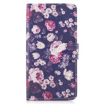 Patterned PU Leather Wallet Case for Sony Xperia XA1 Ultra -Flowers Pattern - intl
