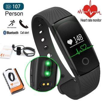 Person วัดอัตราการเต้นหัวใจ ฟิตเนส นาฬิกาสุขภาพอัจฉริยะติดตามกิจกรรม รุ่น ID107HR(Black)
