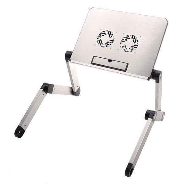 Portable 360°Adjustable Foldable Laptop Notebook Desk Table Stand Bed Tray 2 Fan