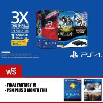 PS4 SLIM : HITS Bundle JET BLACK [500GB] + PSN PLUS 3 MONTH + FINAL FANTASY 15 (ประกันศูนย์ไทย)