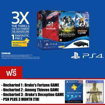 PS4 SLIM : HITS Bundle JET BLACK [500GB] + PSN PLUS 3 MONTH + UNCHARTED (ประกันศูนย์ไทย)