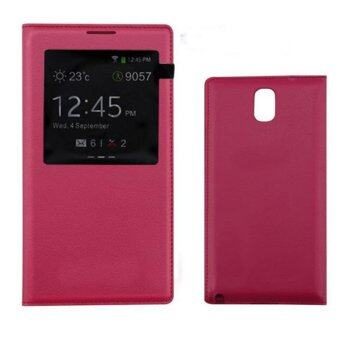 S View Window PU Leather Case Flip Cover for Samsung Galaxy Note 3N900 N9000 N9005 (Rose) - intl