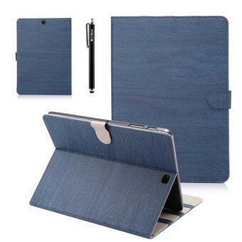 สำหรับ Samsung Galaxy Tab S2 8.0 T715 ลายไม้หนัง puฝาเคสบูธดีด-สีน้ำเงิน