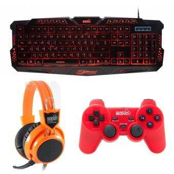 ราคา SIGNO ชุด คีย์บอร์ด + หูฟัง + จอย รุ่น KB-719,HP-802,GP-801 (สีดำ,สีส้ม,สีแดง)