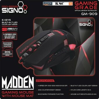 Signo LED Gaming Mouse with Mouse Padเมาส์เกมมิ่งพร้องเเผ่นรองเมาส์ รุ่น GM-909BLK