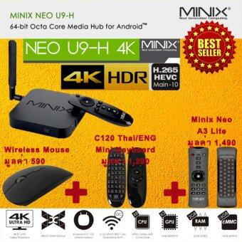 Smart Android TV Box ( NEW 2017 ) MINIX NEO U9-H Smart Android BoxRam 2 GB ROM 16 GB Octa Core Marshmallow 6.0.1 ( Black ) ฟรีWireless Mouse + C120 ไทย/ENG Mini Keyboard + Minix Neo A3 Lite AirMouse