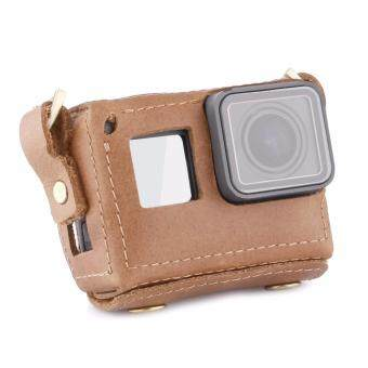 TELESIN Handmade Leather Case for GoPro Hero 5 Black Protective BagNeck Strap Belt with Lens Cap