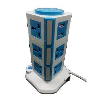 ประเทศไทย Twosister ปลั๊กไฟทรงคอนโด 3 ชั้น พร้อมช่องเสียบ USB (Blue)