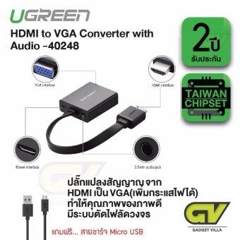 UGREEN รุ่น 40248 หัวปลักแปลงสัญญาณ HDMI to VGA มี audio และ micro usb เพื่อเพิ่มกระแสไฟ / HDMI to VGA Converter with Audio Support audio and micro usb power supply สำหรับ TV  DVD and Projector  ทีวี  โปรเจคเตอร์  คอมพิวเตอร์  จอมอนิเตอร์  จอคอม