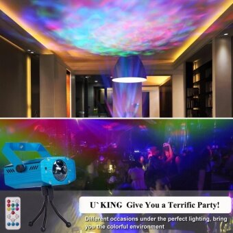 U`King Party Strobe Lights Ocean Wave Projector Stage LightHalloween Christmas Rgb Led Par Light Lighting with Remote for DJBar Karaoke Xmas Wedding Flame - intl