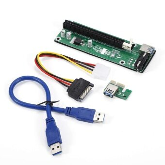 USB3.0 PCIE Express 1x to 16x Extender Riser Card Adapter SATA Power Cable Green - intl