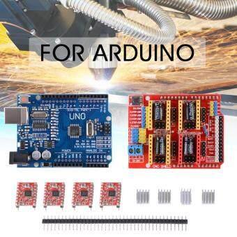 จัดโปรโมชั่น ซีเอ็นซีบอร์ดบัง V3.0+UNO R3 บอร์ด+4ชิ้น A4988มอเตอร์ไดร์เวอร์สำหรับ Arduino TE623