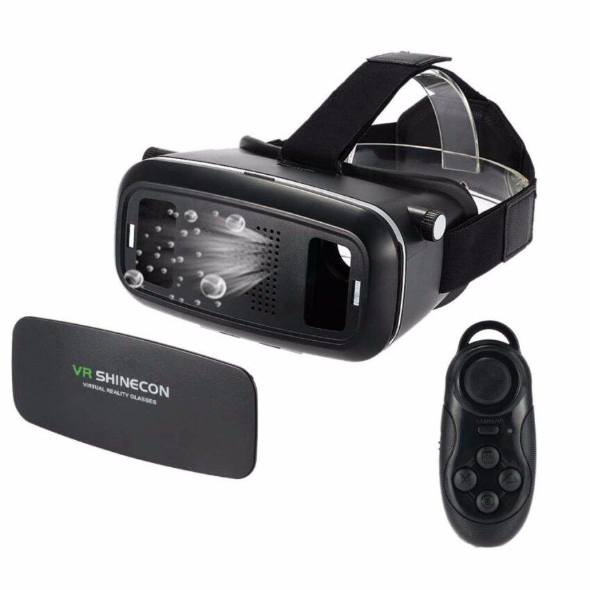 VR SHINECON Virtual Reality Mobile Phone 3D Glasses 3D Movies Games (สีดำ) ฟรี 4 in 1 bluetooth remote controller