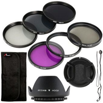 XCSource ชุดฟิลเตอร์ 58mm Filter Set UV CPL FLD ND2 ND4 ND8 + LensHood + Cap สำหรับ Canon 18-55mm