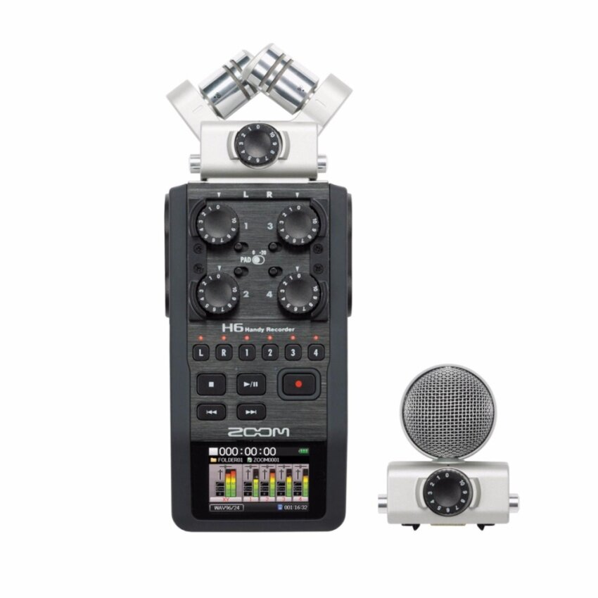 ZOOM รุ่น H6 Handy Recorder with Interchangeable Microphone System-Black