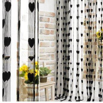 ม่านประดับพู่เส้นเชือกสำหรับการตกแต่งผนังห้องโถงประตูหน้าต่างบ้านหาร1แผ่น x 2แผ่นสีดำ