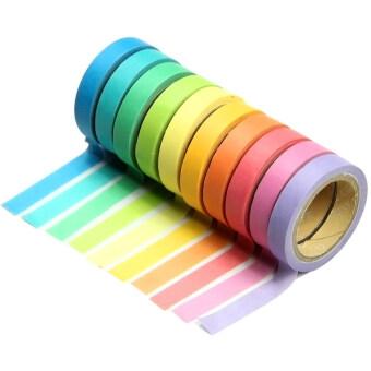 10ชิ้นเขียนสีซ่อมนู่นผสมกระดาษสติ๊กเกอร์ตกแต่งอำพราง Tearableเทปแบบสีชุดสมุดหมายเหตุ