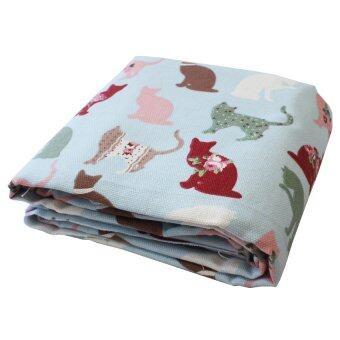 ผ้าแคนวาส แบบหนา 100 เซนติเมตร ลายแมว N-91 Canvas Fabric (สีฟ้า)