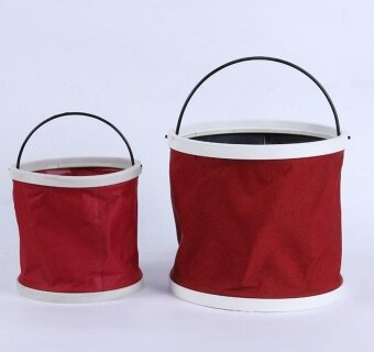 11L Fold-able Foldable Water Bucket Car Wash Water Pail FishingCamping Bucket(red) - int ...