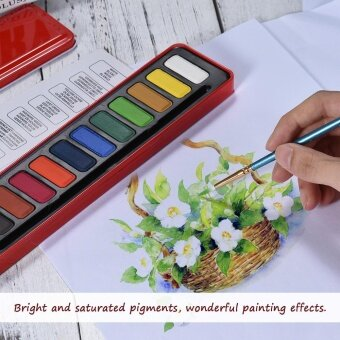 12 Colors Solid Watercolor Paint Pigment Set with Paintbrush MetalBox for Artist Students Drawing Painting Art Supplies - intl