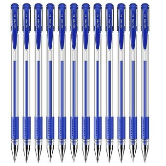 12PCS Office Smooth Roller Ball Gel Ink Writing Pens with 0.5mm Nib Tip Blue - intl