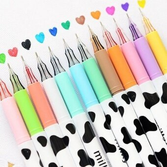 12pcs/pack Assorted Colors Gel Pen Sweet-style Design Pin Type InkPen 0.38mm Smooth Anti Skip Writing Pens by LuckyG - intl