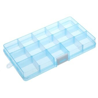 15 Grids Removable Plastic Storage Box Jewelry/Earring/ToolsContainer Case(Blue) - intl