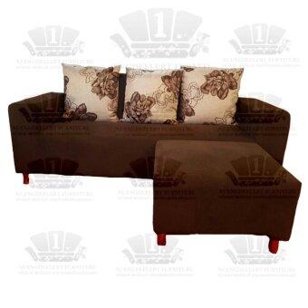 1deelert โซฟาหุ้มผ้า ขนาดกว้าง 200cm (ฟรี!สตูล) รุ่น AB -สีนํ้าตาล(brown)
