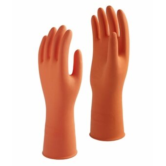 1st Star ถุงมือยางแบบไม่มีซับในสูตรพิเศษสีส้ม Size L 1แพค 6 คู่ ...